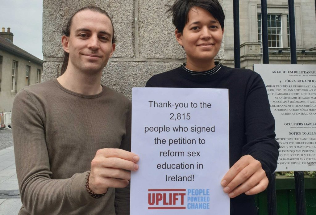Uplift members Dave and Rachel delivering our petition on sex Education reform to the Department of Education