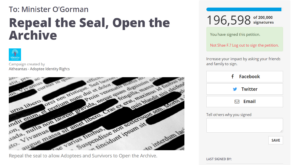 Screenshot of 'Repeal the Seal' petition page